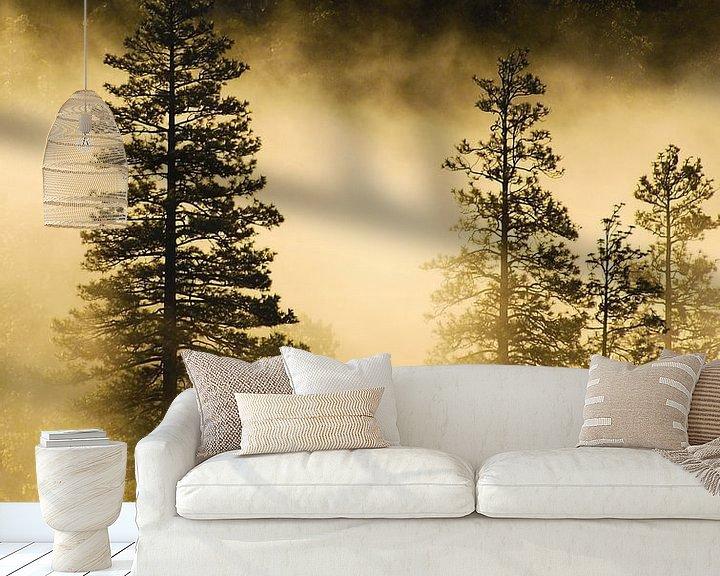 Sfeerimpressie behang: Mist en zonnestralen in Yosemite van Ricardo Bouman