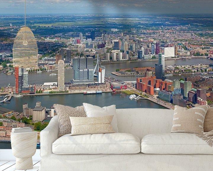 Sfeerimpressie behang: Luchtfoto Rotterdam van Anton de Zeeuw