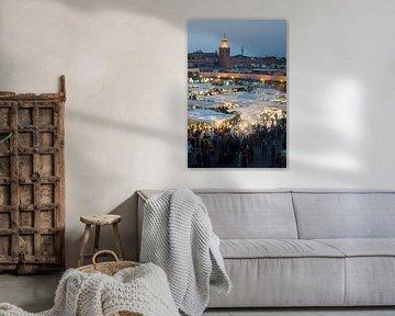 Sfeervol Djeema-el-fna Marokko van Keesnan Dogger Fotografie