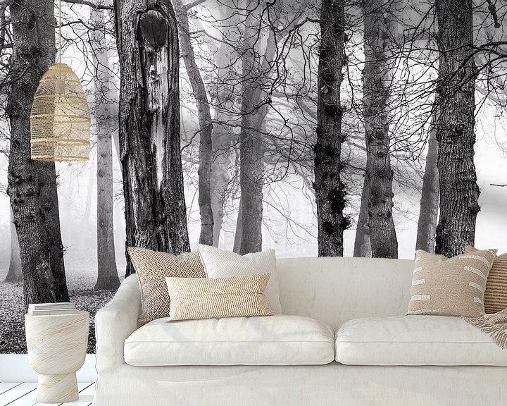 Sfeerimpressie behang: Berken in de mist van Jurjen Veerman