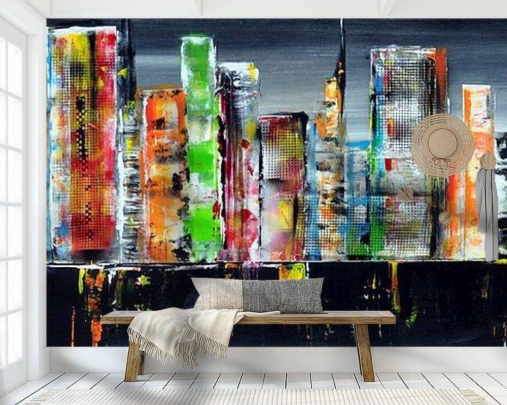 Sfeerimpressie behang: Skyline lightslategray van Kunstenares Mir Mirthe Kolkman van der Klip