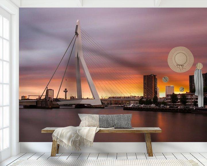 Sfeerimpressie behang: zonsondergang erasmusbrug van Ilya Korzelius