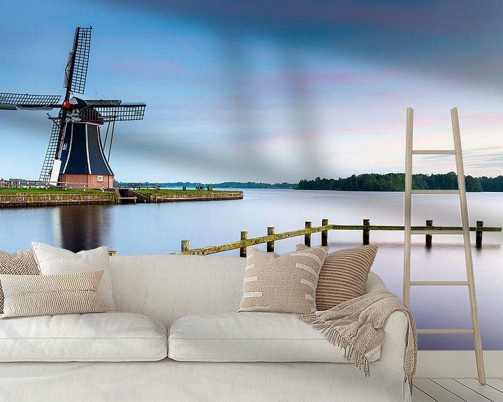 Impression: Moulin à vent De Helper après le coucher du soleil sur Evert Jan Luchies
