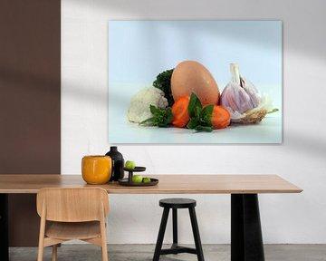 Garlic,Egg,carrots,Parsley,Oregano,Cauliflower van Roswitha Lorz