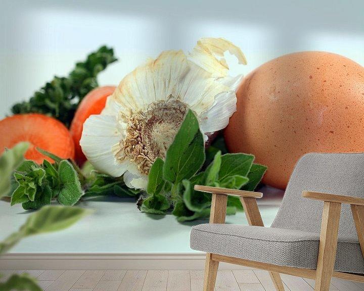 Sfeerimpressie behang: Vegetable + Egg van Roswitha Lorz