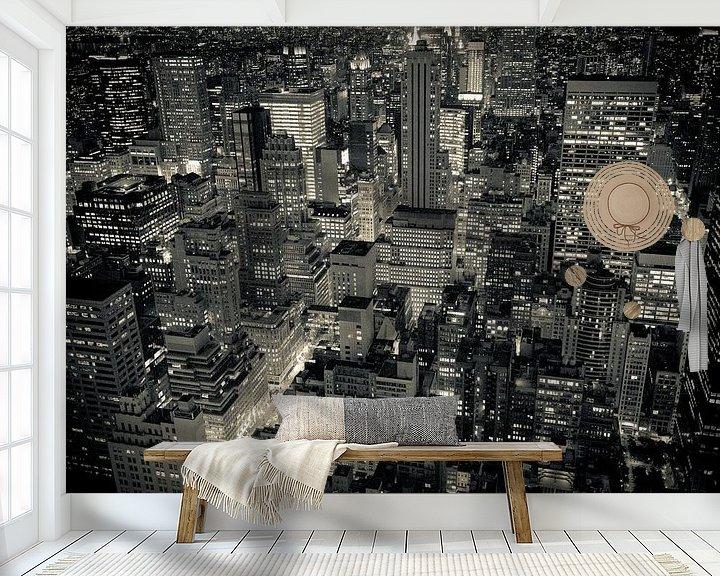 Sfeerimpressie behang: New York by Night van Sander van Leeuwen