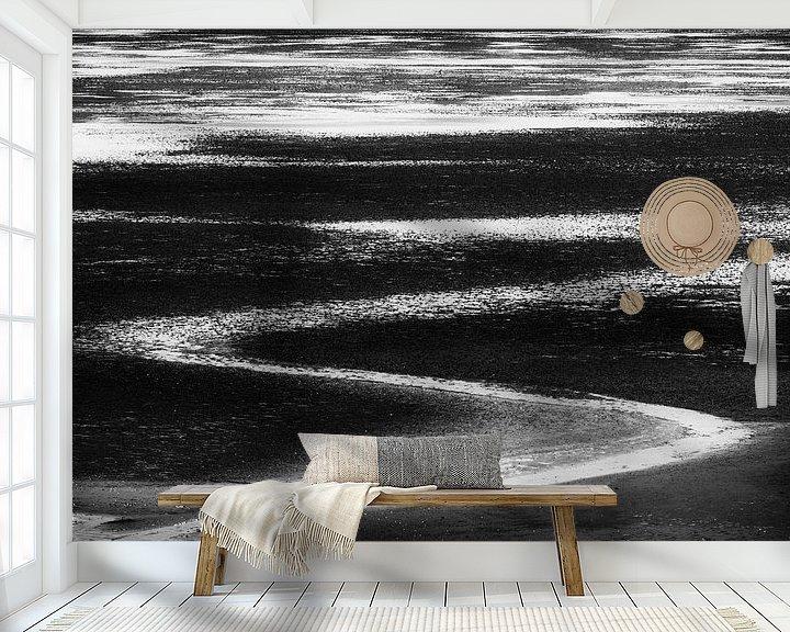 Sfeerimpressie behang: Lines in black and white van Greetje van Son