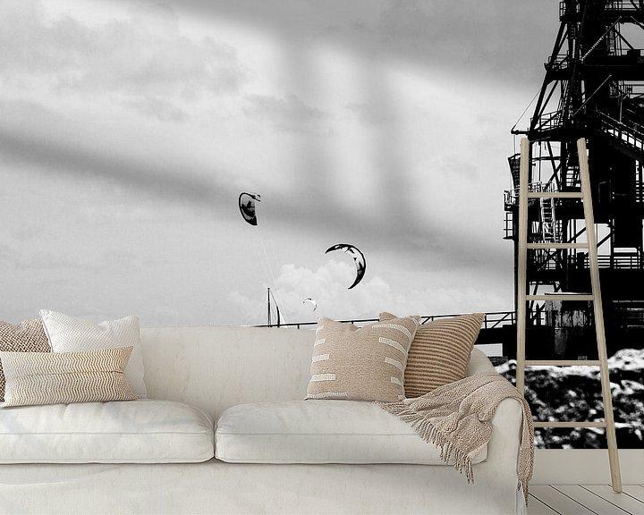 Sfeerimpressie behang: Kitesurfen Salt Pier Bonaire van noeky1980 photography