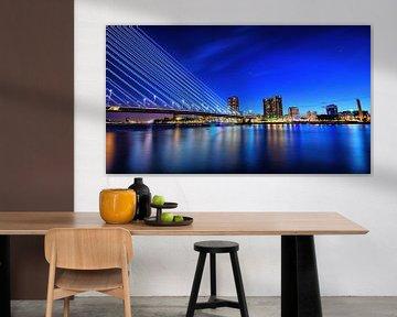 Skyline Rotterdam bluehour van Roy Vermelis