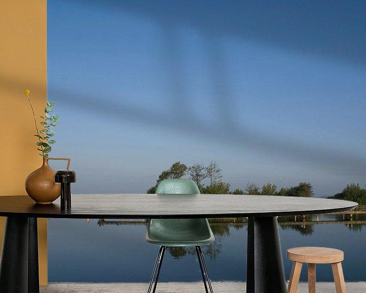 Sfeerimpressie behang: Landschap met steiger.  van Bas Smit