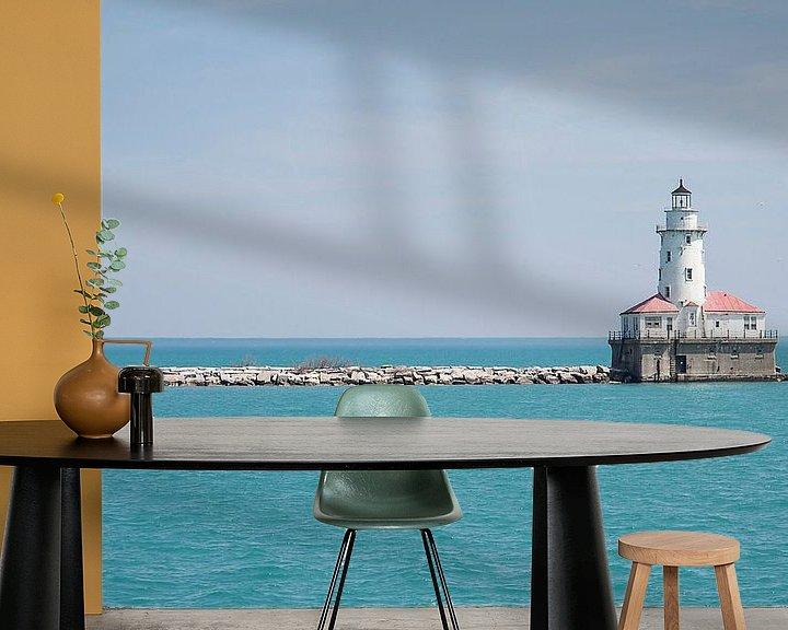 Sfeerimpressie behang: Chicago lighthouse van VanEis Fotografie