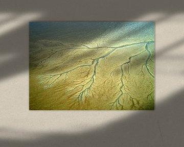 Geulen en prielen in de drooggevallen oostelijke Waddenzee van Meindert van Dijk