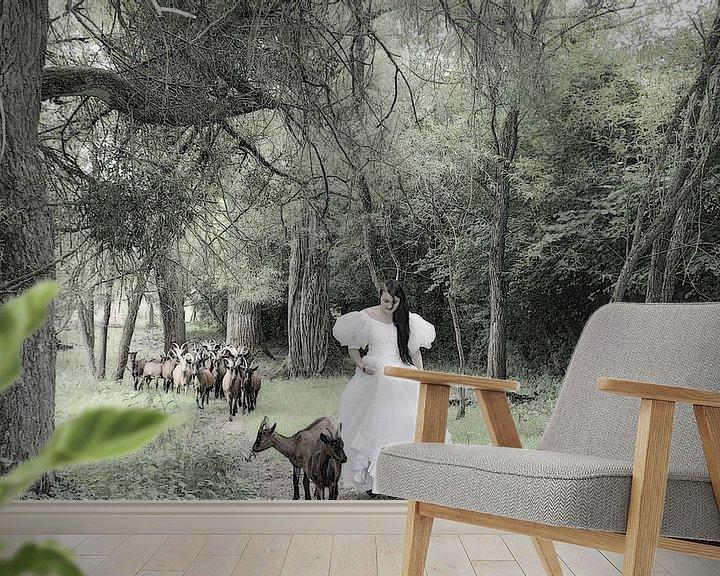 Sfeerimpressie behang: sneeuwwitje op bezoek bij de geitjes van marleen brauers