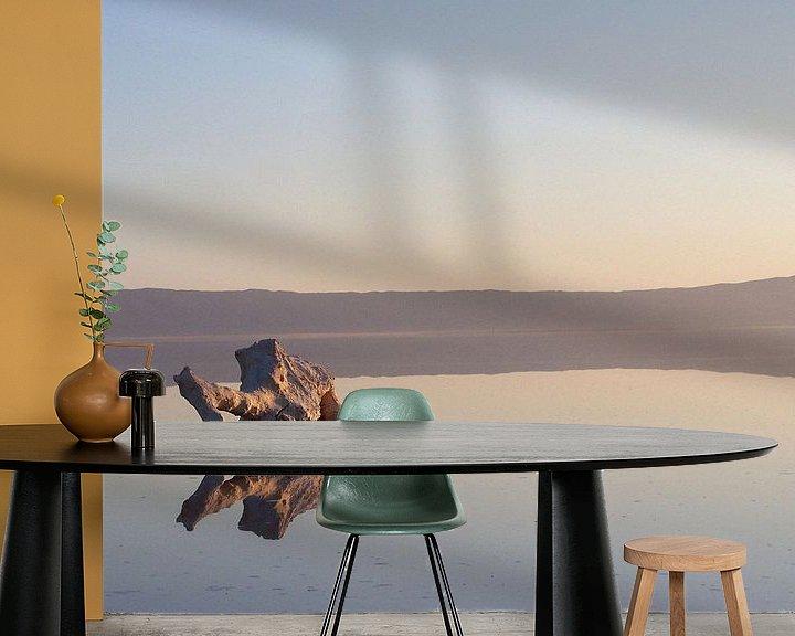 Sfeerimpressie behang: Chott El Jerid. Zoutwoestijn na regenval. van Mr and Mrs Quirynen