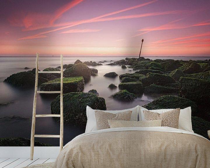Sfeerimpressie behang: Scheveningen Sunset van Tom Roeleveld