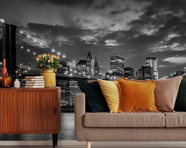 Sfeerimpressie behang: Brooklyn bridge in New York van Roy Poots
