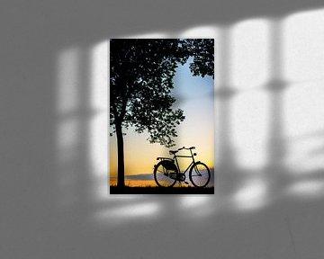 Fiets in de zonsondergang sur Sjoerd van der Wal