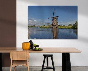 Beautiful views of the mills of the Kinderdijk Open Air Museum in Netherlands during Summer, Holland van Tjeerd Kruse
