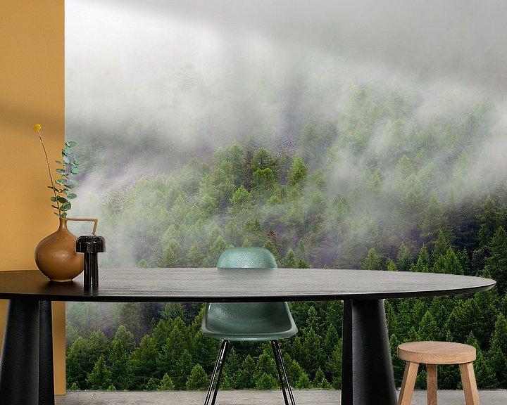 Sfeerimpressie behang: Mistig bos van Anton de Zeeuw