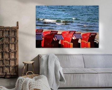 rote Strandkörbe van Roswitha Lorz