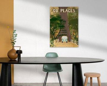 Go Places Redwoods Camper Collage van Green Nest