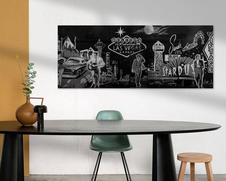 Sfeerimpressie: Las Vegas Graffiti Vintage Zwart/Wit Panorama van Martin Van der Pluym