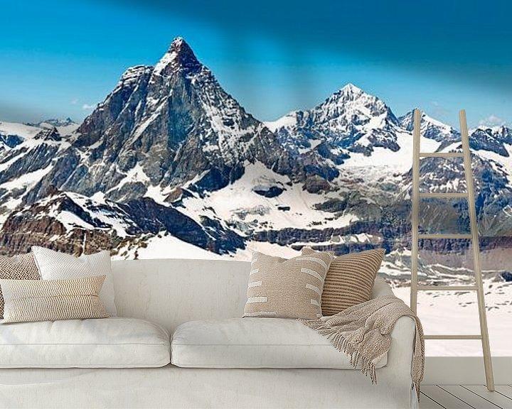 Sfeerimpressie behang: Panorama Matterhorn van Anton de Zeeuw