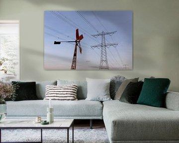 windenergie in de polder Breda Lage Vugt polder Noord-Brabant, Holland, Nederland Afbeelding molen van Ad Huijben