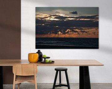 Zonsondergang aan de kust van Roel Van Cauwenberghe