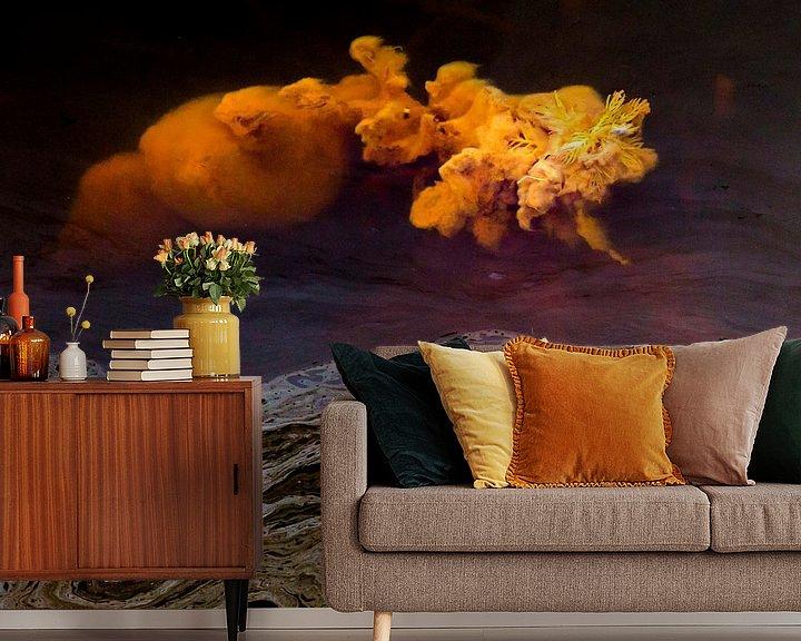 Sfeerimpressie behang: Wonderen in de sloot, Eruptie van een vulkaan van algen. Terheijden, afbeelding vulkaan van Ad Huijben