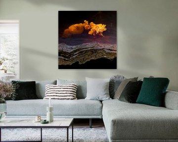 Wonderen in de sloot, Eruptie van een vulkaan van algen. Terheijden, afbeelding vulkaan van Ad Huijben
