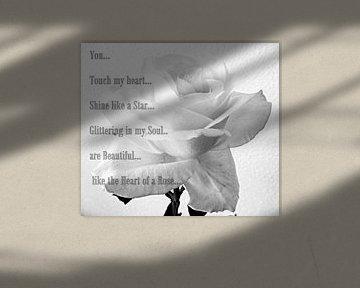 White Rose Poem van Nicky`s Prints