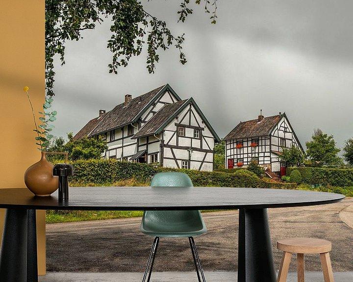 Sfeerimpressie behang: Vakwerkhuisjes Zuid- Limburg van John Kreukniet
