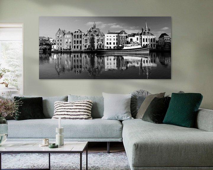 Beispiel: Historische Stadhuiskade Maassluis; zwart-wit panorama von Maurice Verschuur