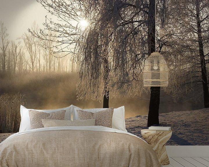 Sfeerimpressie behang: Winter in de Biesbosch van Michel van Kooten