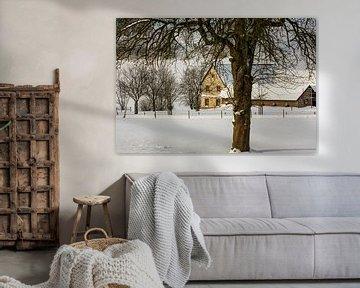 Boerderij Bulkem in de sneeuw bij Simpelveld