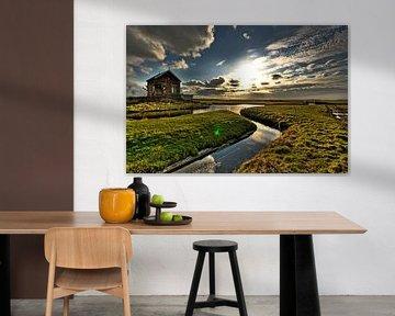 Zonsondergang in de polder von Inge Wiedijk