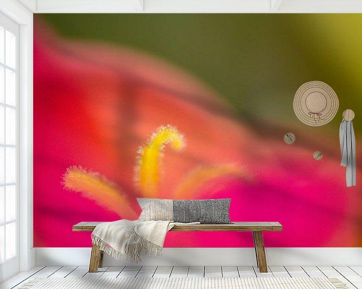 Sfeerimpressie behang: Portulaca detail van Greetje van Son