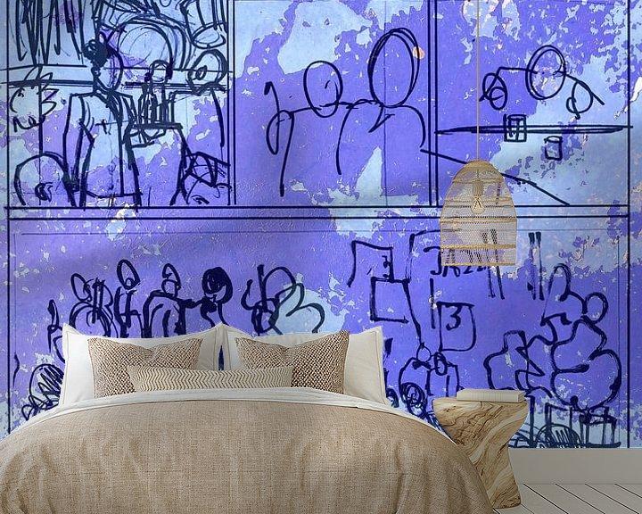 Sfeerimpressie behang: Strip Splinter Goes Urban (Schets p27) van MoArt (Maurice Heuts)
