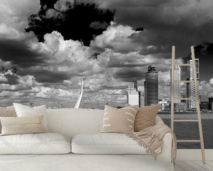 Sfeerimpressie behang: Rotterdam vanaf het water van Thomas van der Willik