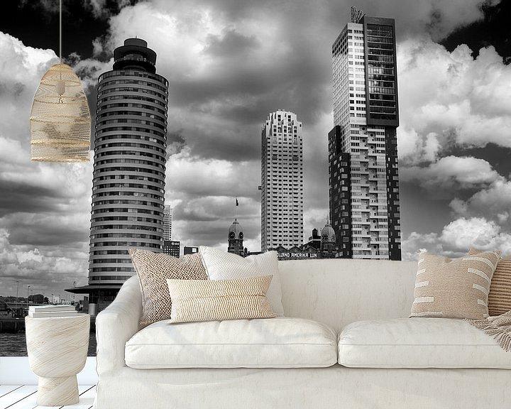 Sfeerimpressie behang: Rotterdam vanaf het water (Kop van Zuid) van Thomas van der Willik