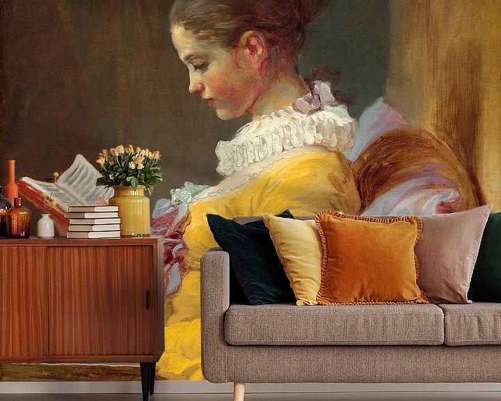 Beispiel fototapete: Lesende Mädchen, Jean-Honoré Fragonard