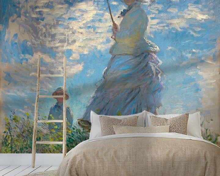 Sfeerimpressie behang: Vrouw met een Parasol, Mevrouw Monet en haar zoon, Claude Monet