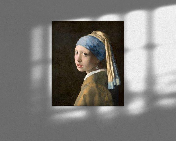 Sfeerimpressie: Meisje met parel - Meisje van Vermeer - Schilderij (HQ)