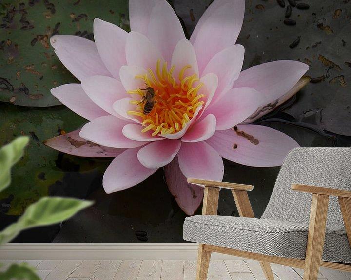 Sfeerimpressie behang: Seerose mit Biene van Peter Norden