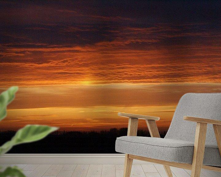 Sfeerimpressie behang: Gouden morgen. van Bas Smit