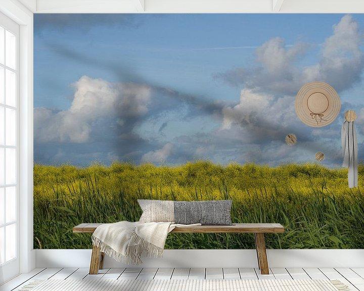Sfeerimpressie behang: Blauw, geel, groen (1). van Bas Smit