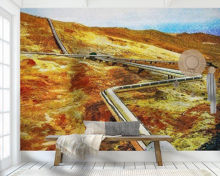 Sfeerimpressie behang: Aardwarmte bij Myvatn, IJsland van Frans Blok