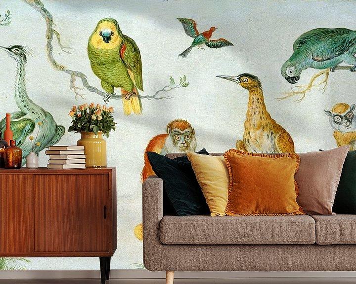 Sfeerimpressie behang: Studie van Vogels en apen, Cirkel van Jan van Kessel