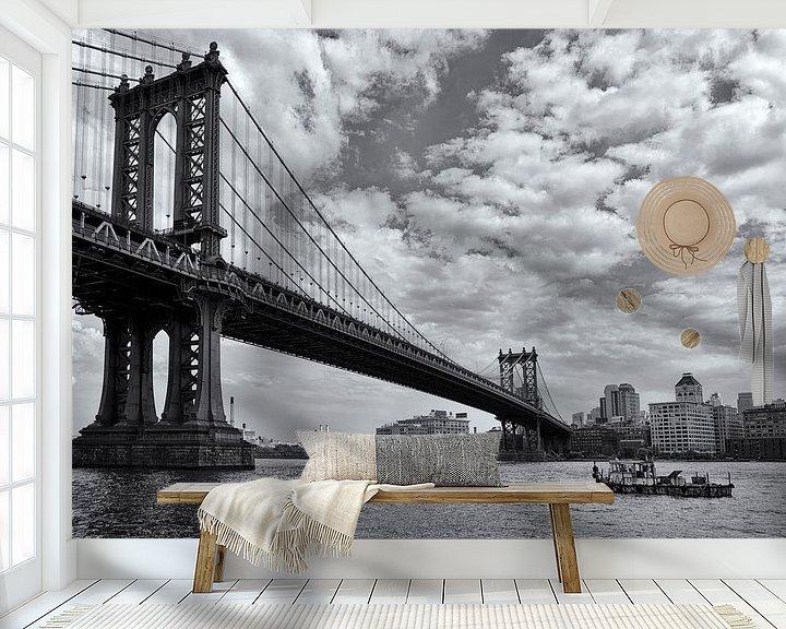 Sfeerimpressie behang: Manhattan Bridge 03 van Peter Bongers